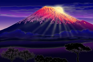 Mt. Fuji in the style of MissNysha
